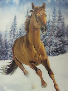 Poster Print 3d picture of a mustang running in a snow field for Home Decor H028