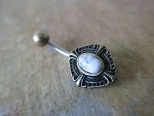 Pretty Bronze Shield White Howlite Natural Stone Piercing Belly Navel Ring