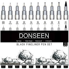 Drawing Black Pen Set Fineliner Draw Sketch Calligraphy Fine Liner Art Artist 10