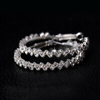 Fashion Women Lady Rhinestone Crystal Hoop Round Big Earrings Ear Stud Jewelry