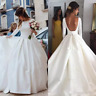 Simple Wedding Dress Satin Long Sleeves Backless Wedding Dress Sexy Bridal Gown