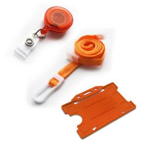 Neck Strap Lanyard Value Clip, ID Badge Card Holder & Retractable YoYo In Orange