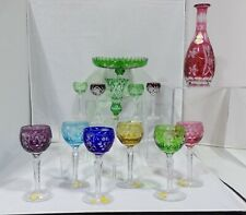 MIXED LOT OF 13 CUT TO CLEAR MULTI COLOR LEAD CRYSTAL WINE GOBLETS SHOT GLASSES