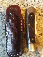 Custom Leather Pocket  Knife Slip Case Sheath Handmade 3 inch