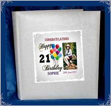 21st Birthday tissue interleaved album personalised gift Present with Photo