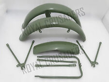 NEW MATCHLESS G3L AJS 16M MILITARY MODEL GREEN PAINTED MUDGUARD SET & STAYS