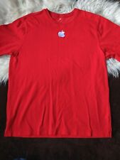 Apple Red Embroidered L Short Sleeve Knit T Shirt Employee Staff Size Large