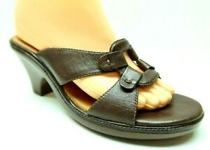 Clarks 8 Brown Leather Open Toe Slides Mules Block Heel Platform Sandals Shoes