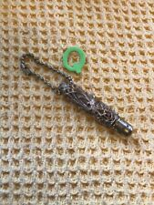 More details for antique gilt gold tone filigree and black celluloid chatelaine pen