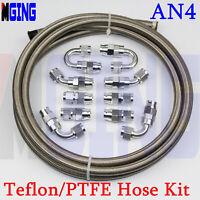 AN4 AN -4 4-AN PTFE Teflon oil gas Line E85 Fuel Hose fitting adaptor 20FT 10PCS