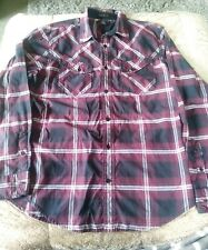 Helix Button Up Shirt Mens Medium Maroon Plaid Athletic Fit Long Sleeve Casual