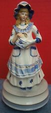 Vintage Porcelain Lady With Watering Can Music Box Blue White Rotates Gold Trim