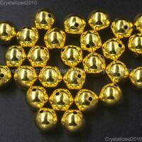 Wholesale Gold Plated Over Copper Round Beads 4mm 6mm 8mm 10mm 12mm 14mm 16mm