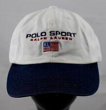 Vintage Polo Sport Ralph Lauren RL Hat RARE White Navy Blue 90 s 59d9102e1ebb