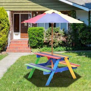 Kindersitzgruppe Kinder Sitzgarnitur Kindermöbel Garten Bank mit Sonnenschirm