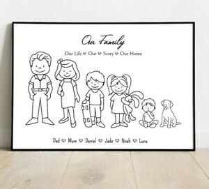 Personalised Stick Family Word Art Print  Keepsake New Home Housewarming Gift