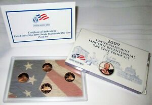 2009 S Lincoln Cent Proof Set 4 Coin Bicentennial U.S. Mint Box and COA
