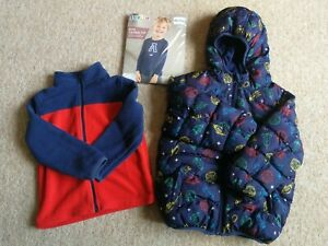 Boys Bundle 3-4 yrs Crafted Blue Puff Jacket Rockets, M&S Fleece jacket and top