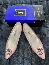 YSL Yves Saint Laurent Womens Size 36.5, PR 6873 Pink Leather Flats shoes