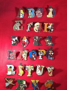 26 Disney pins Complete Character Alphabet  As Seen Lot x