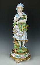"Antique 19C French porcelain figurine ""Girl with Flowers and Eggs"" WorldWide"