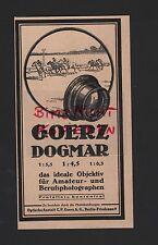 BERLIN-FRIEDENAU, Werbung 1918, Optische Anstalt C. P. Goerz AG Dogmar Linsen