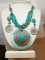 Set Ruby Road Faux Turquoise Shell Pendant Necklace Earrings Dangle Aztec Type