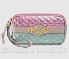 GUCCI pink/aqua quilt leather TRAPUNTATA Zumi buckle WRISTLET Case NWT Auth $950