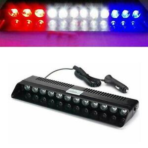 12 LED Car Dash Emergency Strobe Flash Light Warning Lamp RED WHITE BLUE DC12V