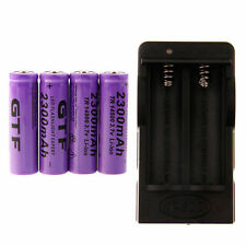 4 x GTF 3.7V 14500 Led Flashlight 2300mAh Li-ion Rechargeable Battery + Charger