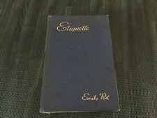 "Etiquette ""The Blue Book of Social Usage"" Emily Post 1937 Antique Vintage"
