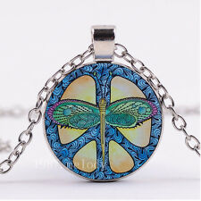 NEW Cabochon Glass necklace Silver/Bronze/Black pendant(Dragonfly Peace Sign