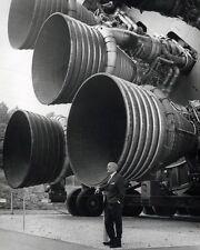 New 8x10 NASA Photo: : Dr. Wernher von Braun with Engines of Saturn V Rocket