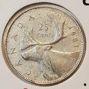1951 HR Canada 25 SILVER twenty five cents - COMBINED SHIPPING - C25-062