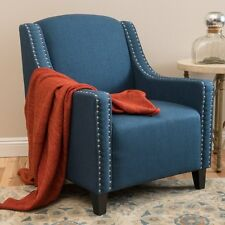 Sofia Dark Blue Fabric ArmChair  Lounge Arm Tub Chair Sofa