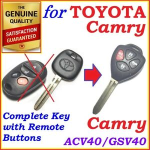 FOR TOYOTA CAMRY REMOTE KEY COMPLETE 4 BUTTONS 2006 2007 2008 2009 2010 2011