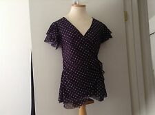New York and company - Rouche knit short sleeve top - size M - navy polka dot