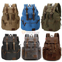 35L Vintage Canvas Backpack Travel Sport Rucksack Satchel Hiking School Bag New
