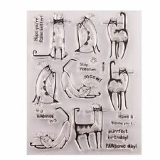 Cute Cat Silicone Clear Stamp Seal DIY Scrapbook Embossing Album Decor Craft Art