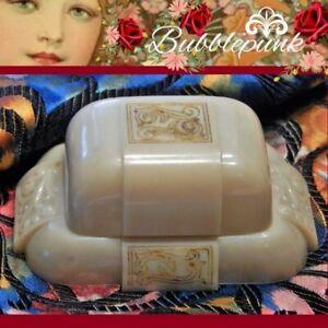 Antique Vintage Art Deco Celluloid Velvet Dennison Jewelry Double Ring Box