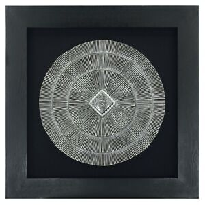 Abstract Silver Medallion Shadow Box Wall Décor