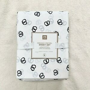 Pottery Barn Teen Twin XL Pretzel Organic sheet set  White Faded Black