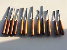 12 vintage wood carving chisels/gouges. Addis, Henry Taylor, Sorby