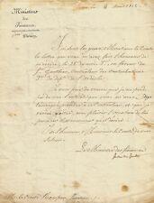 DUC DE GAETE Lettre signée au Sénateur Rampon. Empire 1812.
