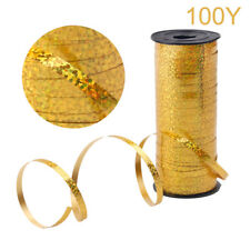 100Y Curling Ribbon Roll Crimps Gold Balloon Ribbons Party Happy Birthday Decor
