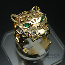 Leopard Head Cocktail Hollow Design Ring Animal Cat Jewelry Gold Size US 7
