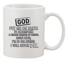 God Put Me On Earth To Accomplish Certain Things Funny Ceramic White Coffee Mug