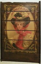 Olympia Beer Poster Brewery Girl on Raisin Drying Tray Rack