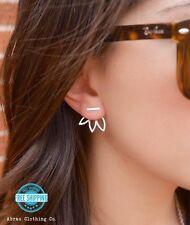 Gold or Silver Open Lotus Flower Petal Ear Jacket Stud Post Fashion Earrings USA