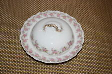 Antique Limoges Elite Lidded Caviar Dish-Pink Roses-Higgins & Seiter NY